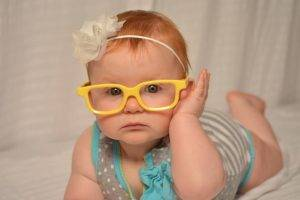 baby girl yellow glasses in bozeman mt